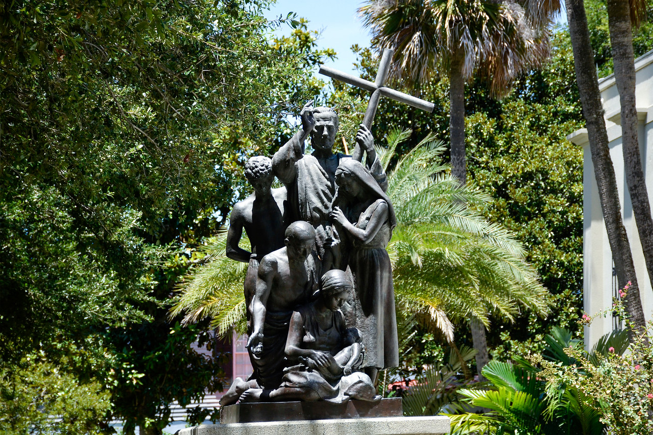 "Statue at the St Augustine Cathedral Basilica - ""In Memory of Father Pedro Camps, the Spiritual leader of the Minorcan Colony"""