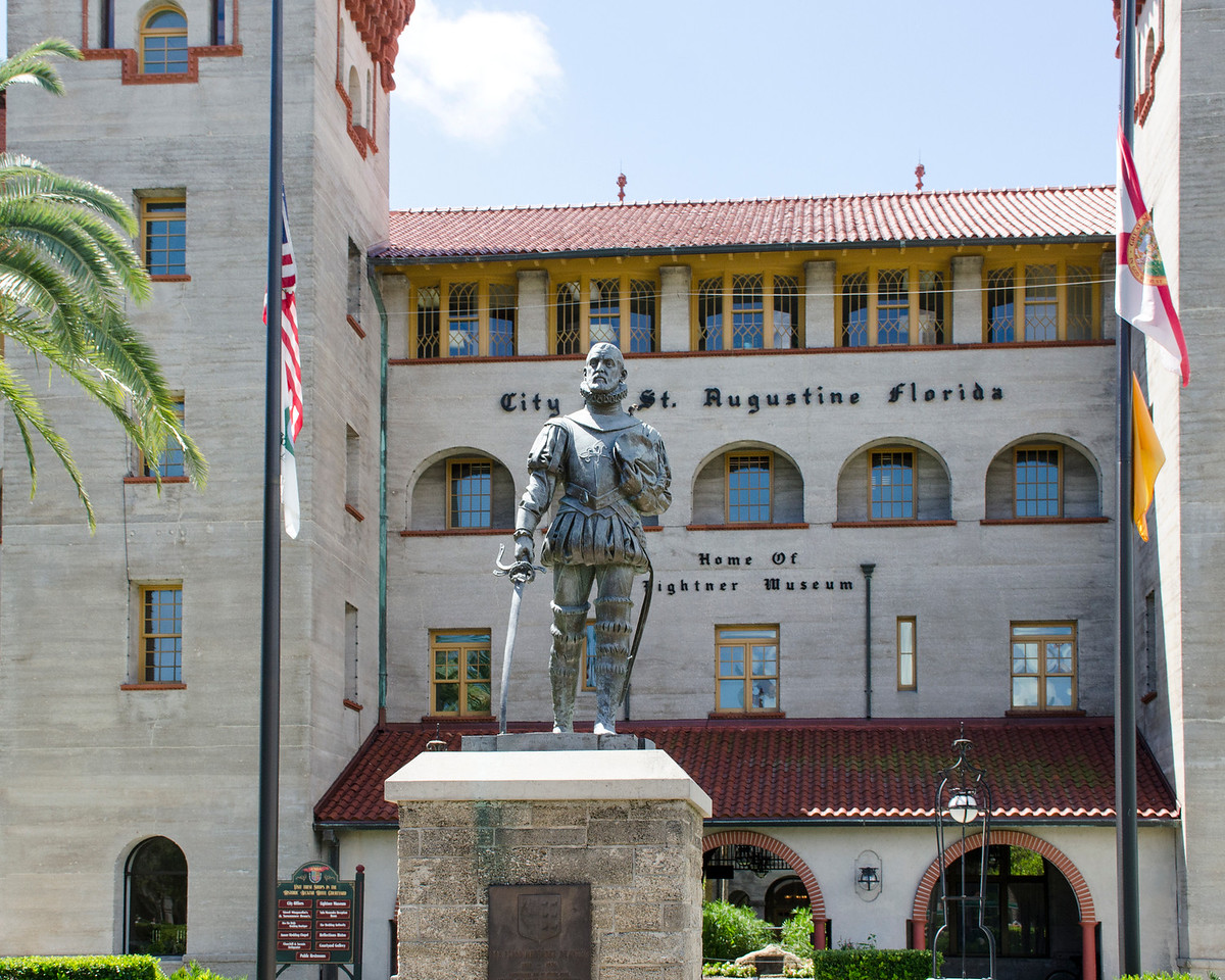Statue of Don Pedro Menendez de Aviles, outside of the Lightner Museum