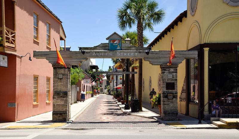 One of the walking streets in the old town part of St. Augustine