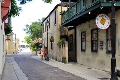 Walking the streets in the old town in St. Augustine.