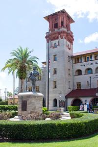 Statue of Don Pedro Menendez de Aviles, outside of the Lightner Museum