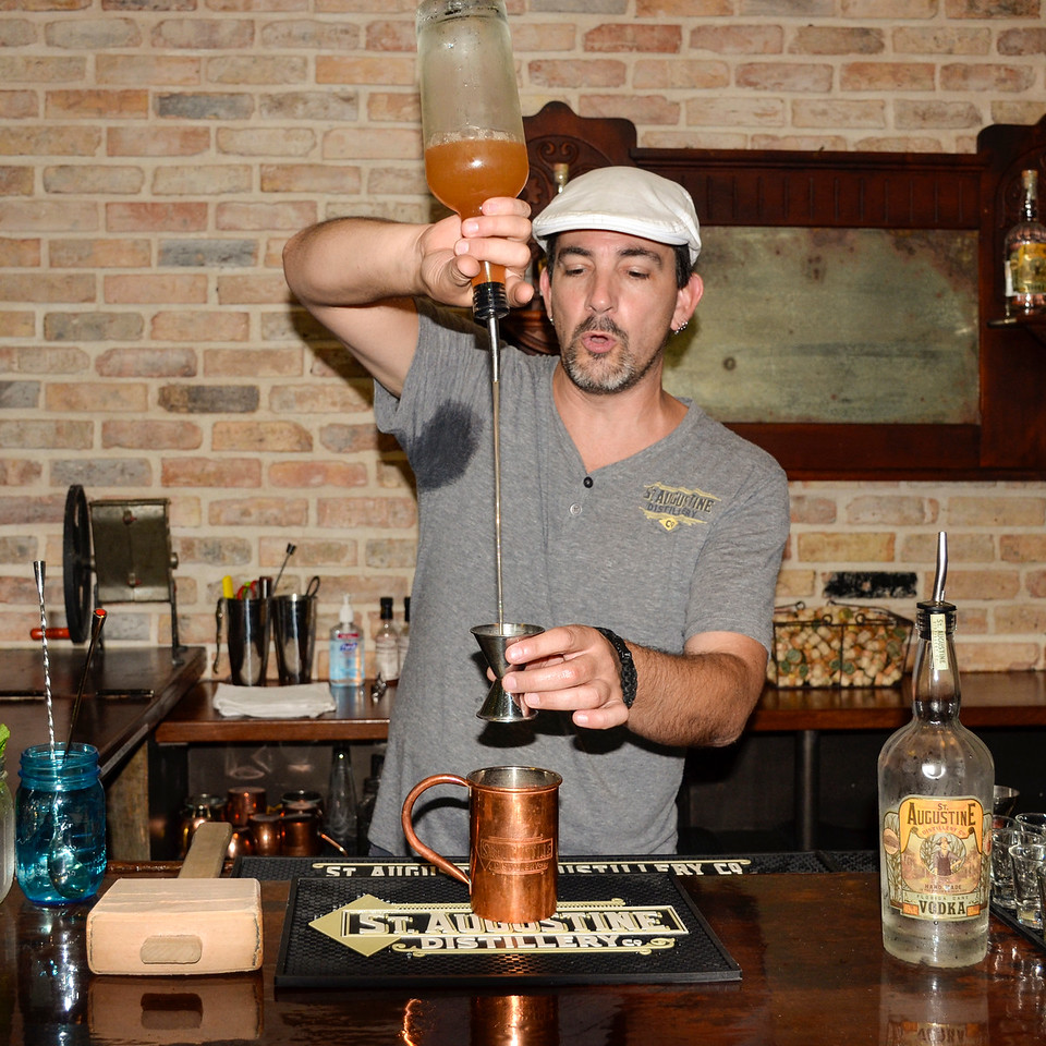 Chip, our guide at the St. Augustine Distillery, making a Florida Mule