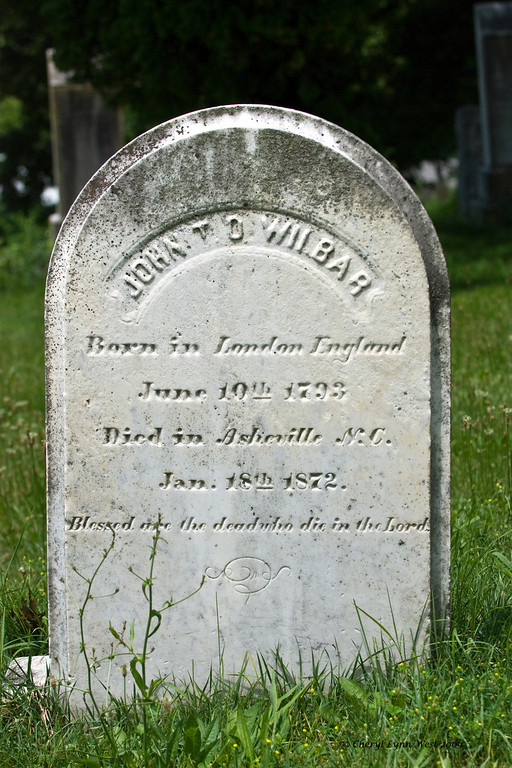 Grave of John Wilbar, who was born in London, England and died in Asheville, SC.  He lived to be 78 years old.