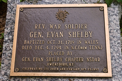 Marker on the grave of Evan Shelby, Revolutionary soldier and the founder of Bristol