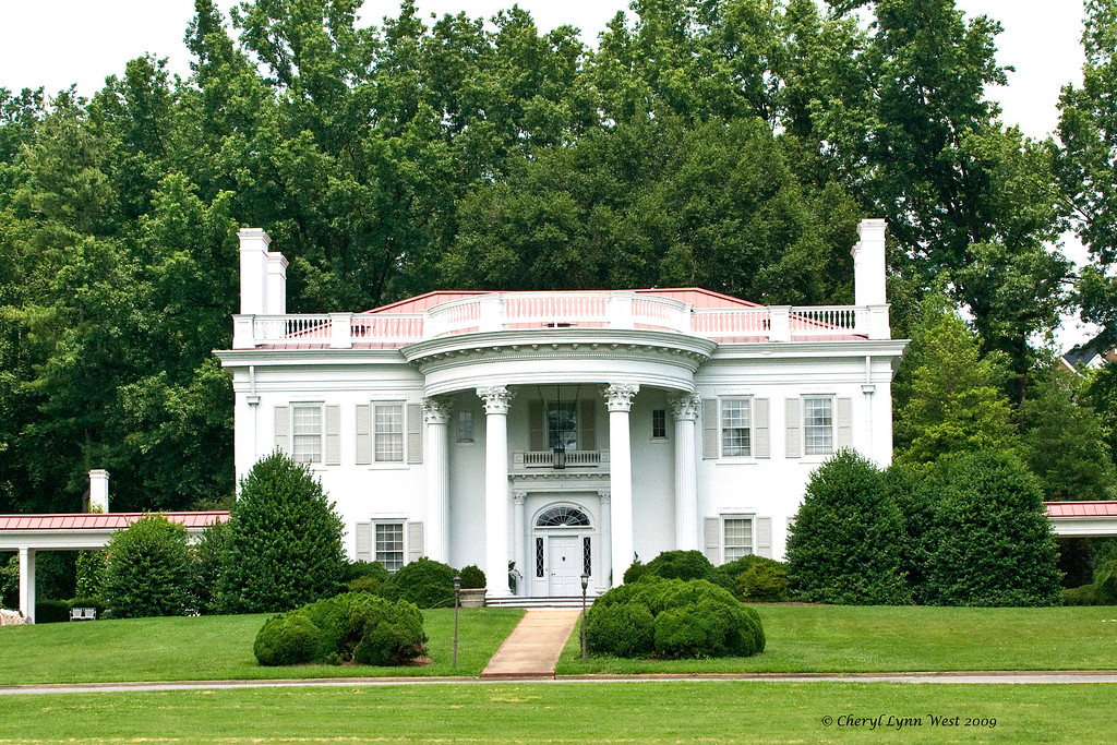 """Allandale Mansion, dubbed the """"White House of Kingsport,"""" was built in 1949.  The name of the house is derived from Allan, a reference to Roan Allan F-38 [a leading Tennessee Walking horse], and the old English word dale, meaning peaceful valley. <br />  <a href=""""http://www.allandalemansion.com/allandale_beginnings.php"""">http://www.allandalemansion.com/allandale_beginnings.php</a>"""
