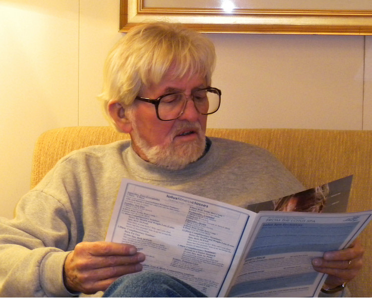 Frank checks out the itinerary for the next day's activities
