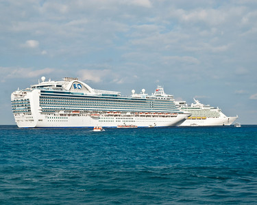 Crown Princess next to the Navigator of the Seas