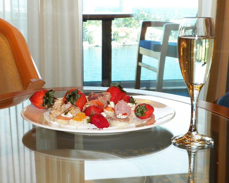 Golden caviar, fresh strawberries & champagne.  What a way to start a cruise!