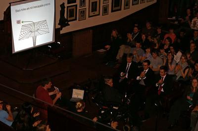 Hawking giving a public talk