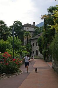 Jörg and my dog Moritz on the Esplanade in Locarno