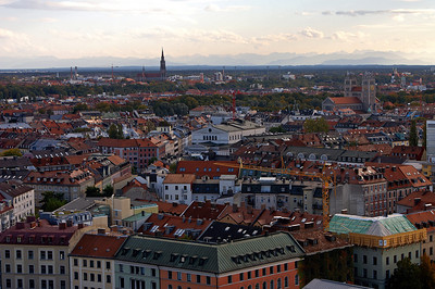 """We've climed the """"alter Peter"""" (spire of the church St. Peter). Great views of Munich, with the Alps in the background"""