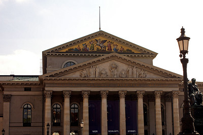Münchner Staatsoper - allegedly the newly completed building once caught fire and they ran out of quench water. So what they did was use beer to put out the flames to save the precious new building.