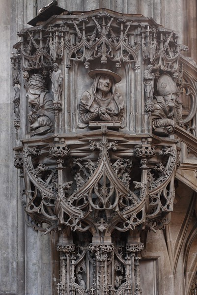 The pulpit with the sculptures of Saints Gregory, Jerome, and Augustine, St. Stephen's Cathedral, Vienna, Austria.