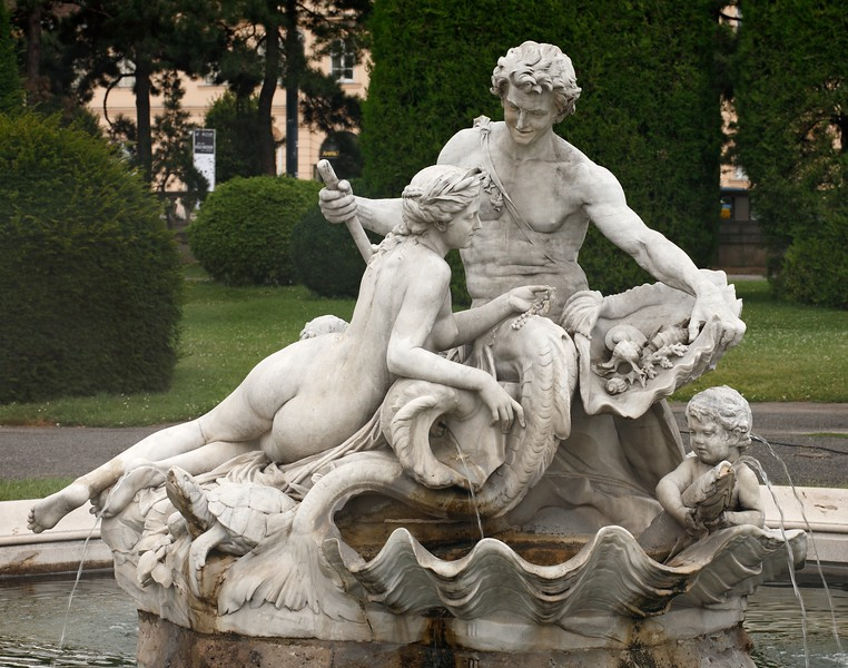 A picturesque fountain on the Maria Theresien Platz, Vienna, Austria.