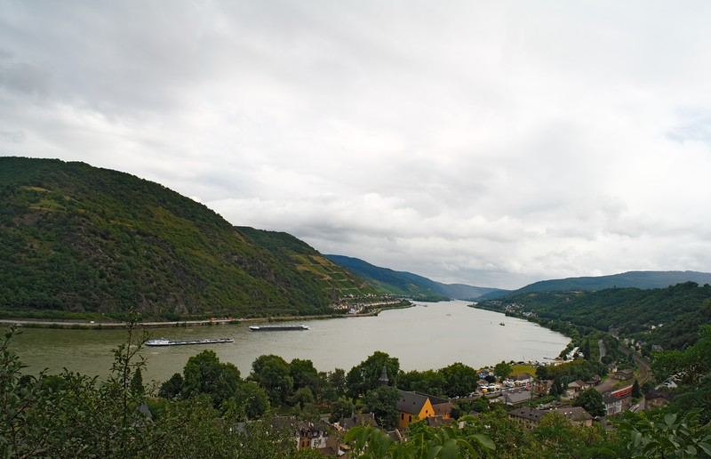 View on Rhine river valley from overlook on the way to Castle Stahleck  in Bacharach, North Rhine Westphalia, Germany, Europe.