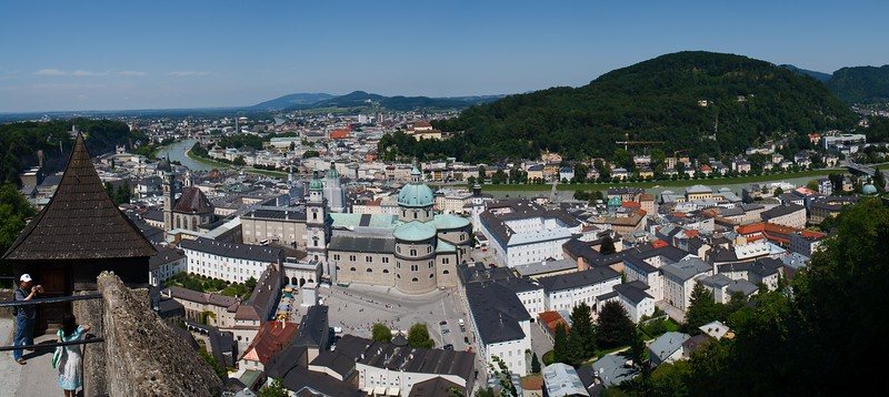 Panorama of the Historic Centre of the City of Salzburg as seen from Hohensalzburg Fortress, Austria, Europe.