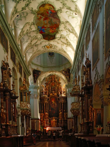 Interior of St. Peter's Abbey Church (Stiftkirche St. Peter), Salzburg, Austria, Europe.