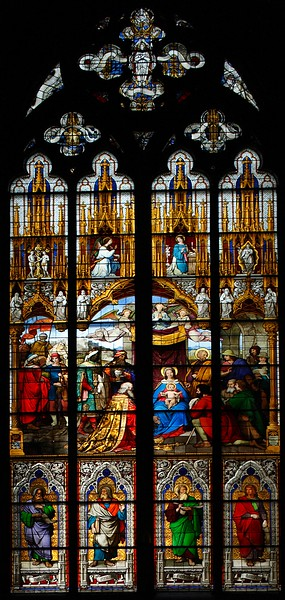 A south window of Cologne Cathedral, Germany, Europe. The windows were given by Ludwig I of Bavaria.