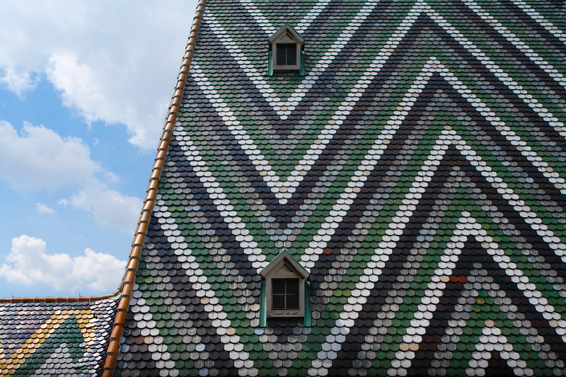 Colorful tile roof of St. Stephen's Cathedral, Vienna, Austria.