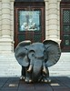 A statue of elephant in front of the Natural History Museum, Maria Theresien Platz, Vienna, Austria.