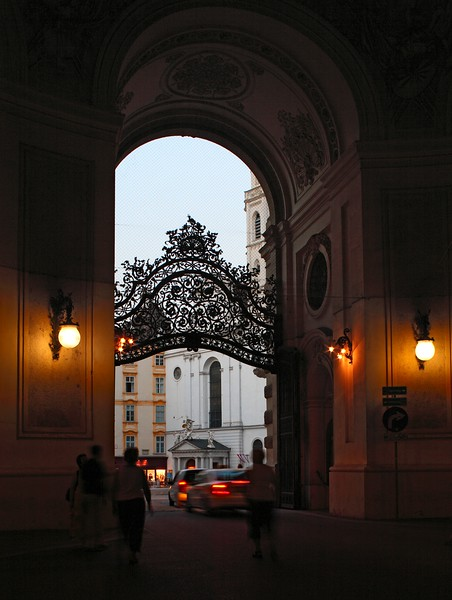Arch and grill of Michaelertor Gate to the Hofburg Palace on Michaeler Platz, Vienna, Austria, Europe.
