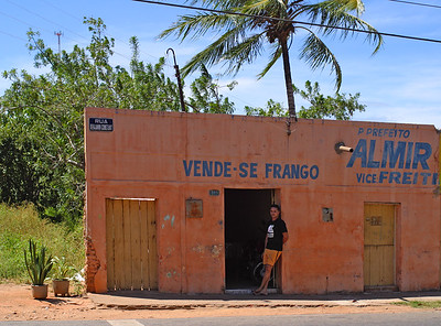 The owner of a small shop is waiting for customers,  Ceara, Brazil, South America.