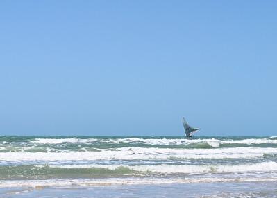 A tradidional Brazilian sail boat jangada, Canoa Quebrada, Ceara, Brazil, South America.
