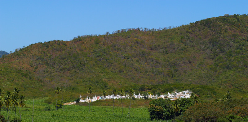 A quiet cemetery under a hill, Ceara, Brazil, South America.