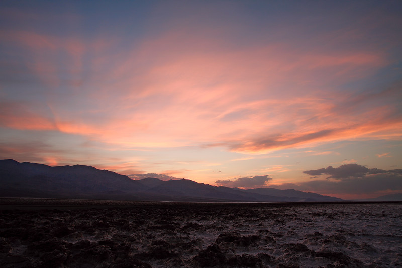 Sunset at Devil's Golf Course, Death Valley National Park, California and Nevada, USA.