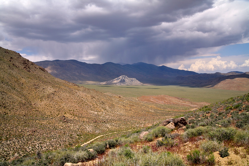 A storm over the Stripped Butte  in the Butte Valley, Death Valley National Park, California and Nevada, USA. This valley is in the heart of the Panamint Range.