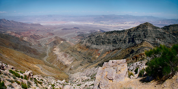 A view from Aguereberry Point in the Panamint Range includes the floor of Death Valley below and Funeral Mountains in the distance, Death Valley National Park, California and Nevada, USA.