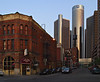 The Renaissance Center, General Motors Corporation, headquarters, as seen from old town of Detroit, Michigan, USA.