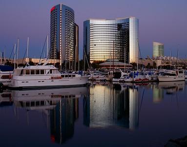 San Diego boat harbor, California, USA.