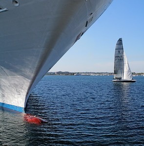 A cruise ship, seagull and yacht in the San Diego harbour.