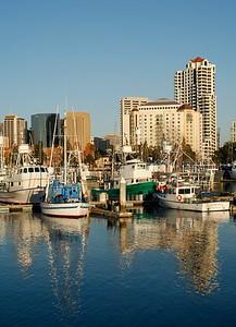 San Diego fishing boats harbor, California, USA.