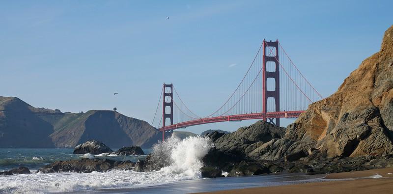 Golden Gate Bridge from Baker Beach, San Francisco, California, USA.