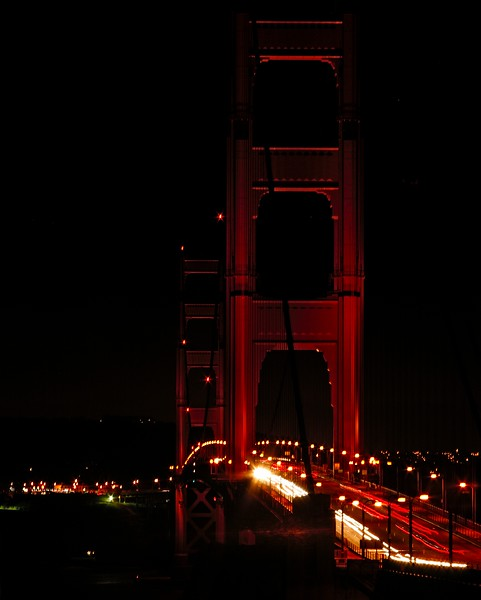 Golden Gate Bridge at night, San Francisco, California, USA. The picture is taken from Vista Point in Marin Headlands.