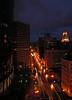Night view of Broadway, Oakland, California, USA.