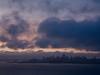 View of San Francisco at dawn from Vista Point in Marin Headlands, California, USA.
