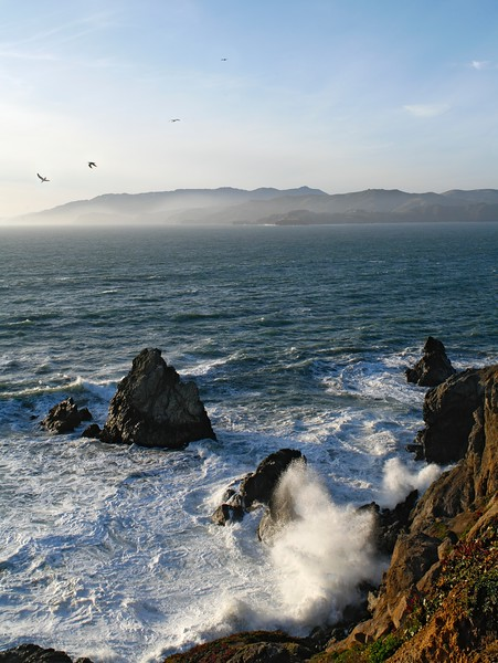 Pacific Ocean coast from Sutro Heights Park, San Francisco, California, USA. Marin Headlands are seen on the horizon.