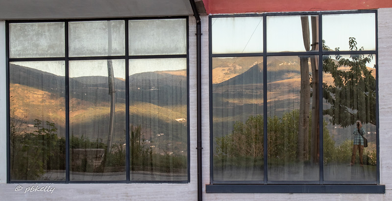 As I was shooting across the little valley from outside my Hotel, I turned around and took the view in the windows.