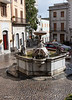 Fountain in the Piazza Plebescito.  Two excellent restaurants on this Piazza.