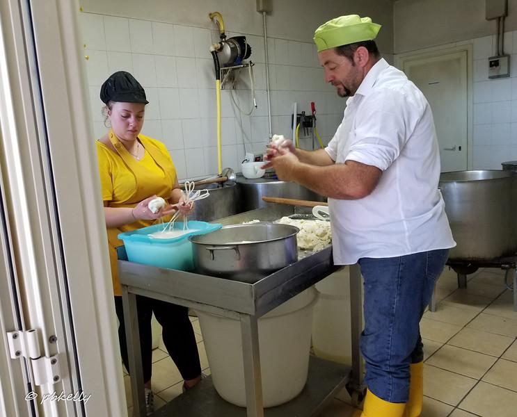 Making Caciocavallo at LaMontagna, an artisanal cheese maker and bakery.