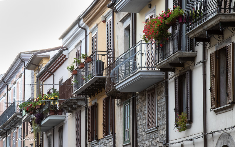 Balconies on main street of Agnone.