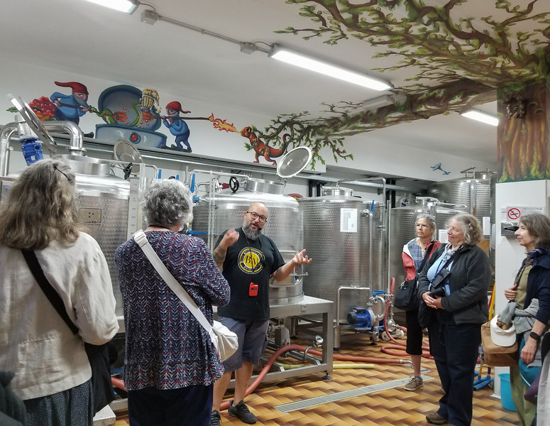 Pescolanciano has a new craft brewery, La Fucina, The owner gave us a tour and tasting.  The decorations were amazing!