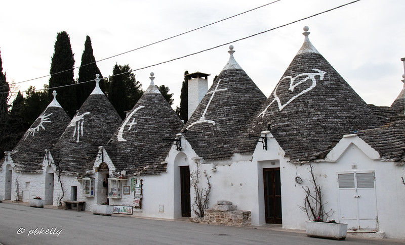 Many have symbols on the roofs.