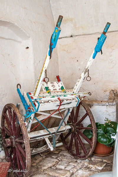 This old and very bright pony cart was in a corner of a shed.