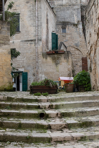 Among the Sassi in Matera.  The bright colored toy stood out.