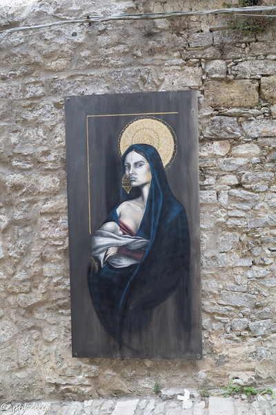 Wall art installations were all over Erice.  Very modern in contrast to the old town.