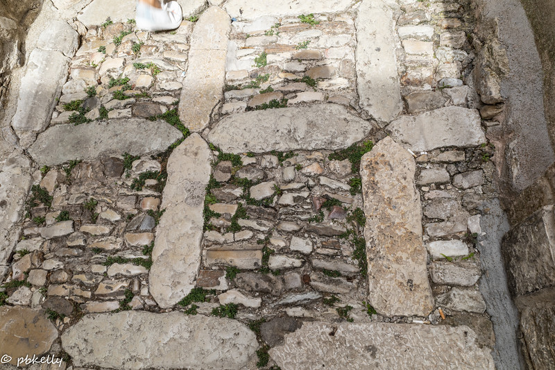 This pattern of stone was the basic  for almost all of the roads and paths.